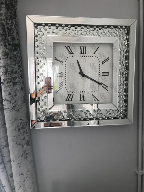 Floating Crystal Diamond Wall Clock