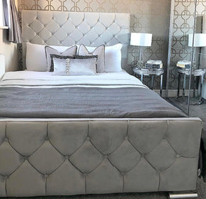 Beaumont Bed | HOS Home | Mirrored furniture | Affordable Luxury