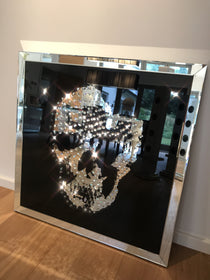 Floating Crystal Skull Mirrored Wall Art Large