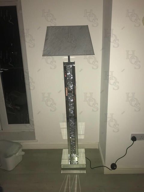 Brick Mirror Diamond Crush Floor Lamp