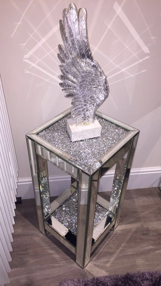 Diamond Crush Small Mirrored Side Table Hos Home