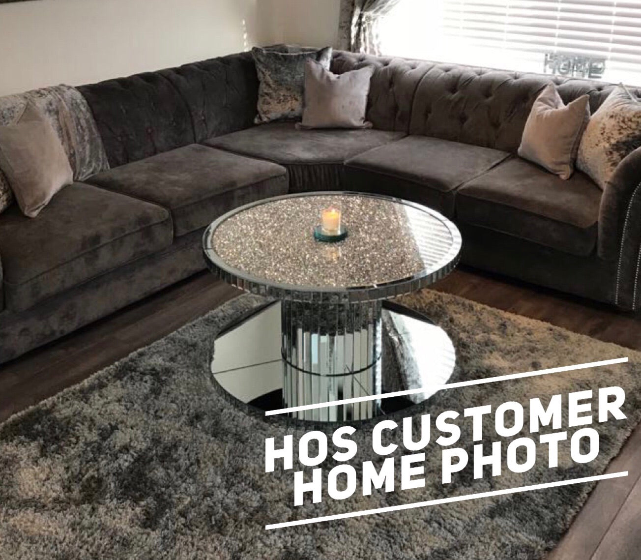 Diamond Crush Circular Coffee Table - Mirrored furniture - Sparkle Diamond - House of Sparkles