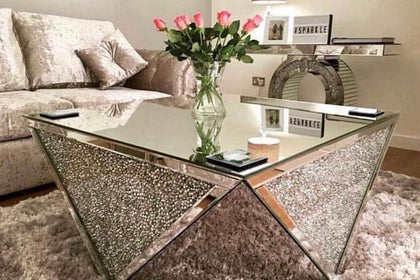 February Delivery - Exclusive Diamond Crush Mirrored Coffee Table | HOS Home | Mirrored furniture | Affordable Luxury
