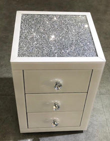 White Mirror Crush 3 Drawer Mirrored Bedside Table