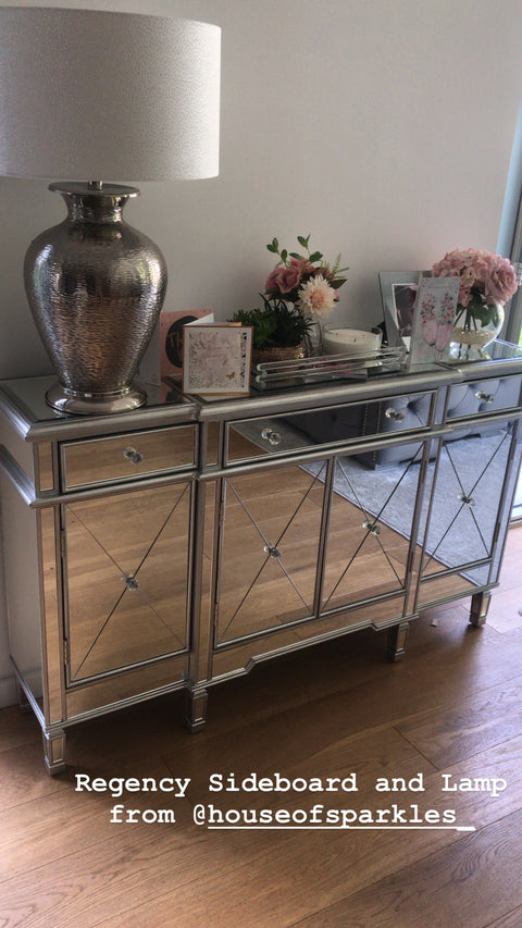 Classic Mirror Regency Cabinet With Silver Trim - Mirrored furniture - Sparkle Diamond - House of Sparkles