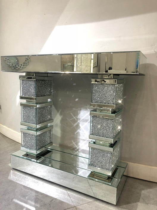 Diamond Crush Brick Pillar Mirrored Console Table | HOS Home | Mirrored furniture | Affordable Luxury