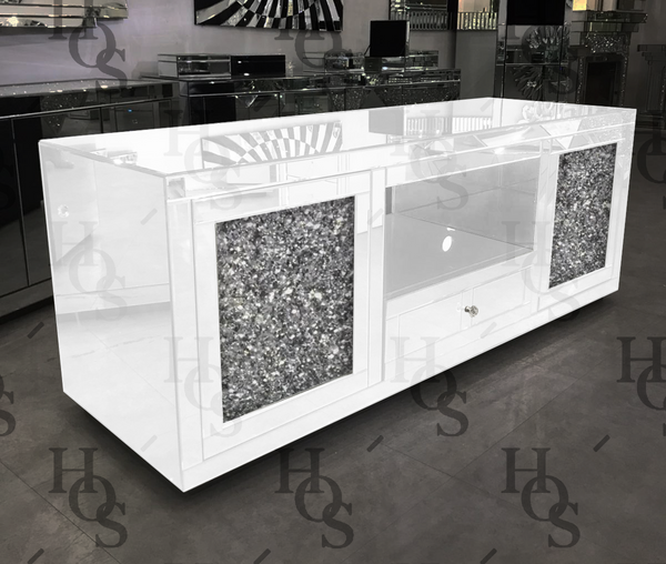 White Mirror Crush Large Media Unit House Of Sparkles