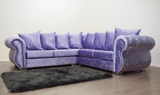 Buckingham Corner Sofa in Lavender Velvet | HOS Home | Mirrored furniture | Affordable Luxury