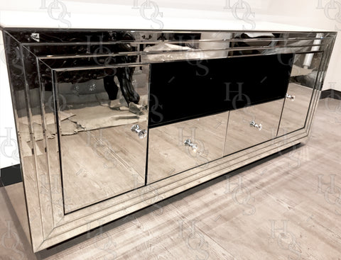 Classic Mirror Large Media Unit - Mirrored furniture - Sparkle Diamond - House of Sparkles