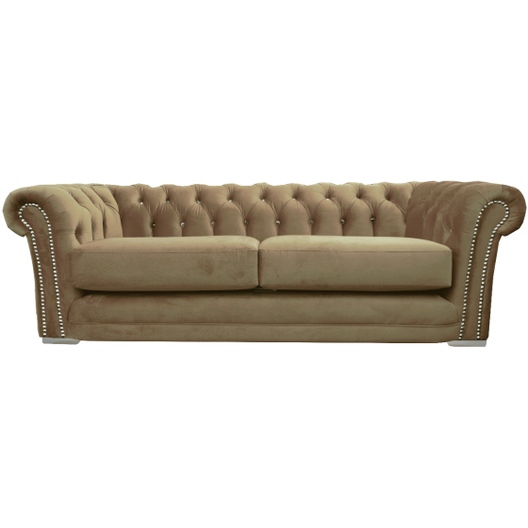 Anna Chesterfield Sofa in Mink Plush | HOS Home | Mirrored furniture | Affordable Luxury