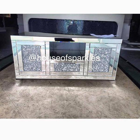 Diamond Crush Media Unit - Mirrored furniture - Sparkle Diamond - House of Sparkles