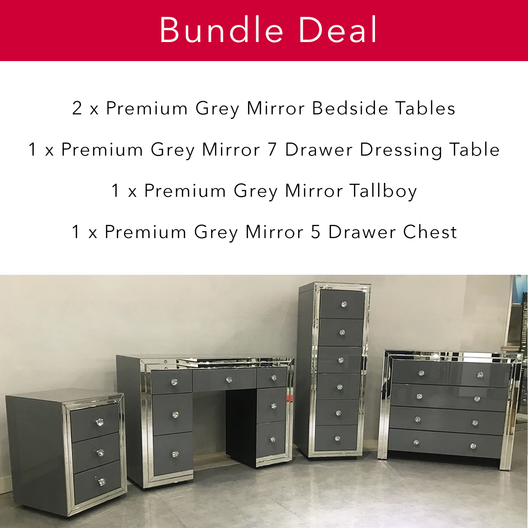 Premium Grey Mirrored Bedroom Bundle