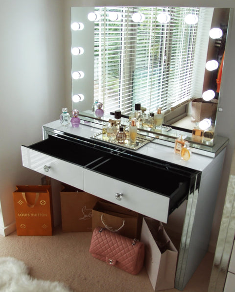 Premium White Mirror 2 Drawer Dressing Table (Mirror not included)