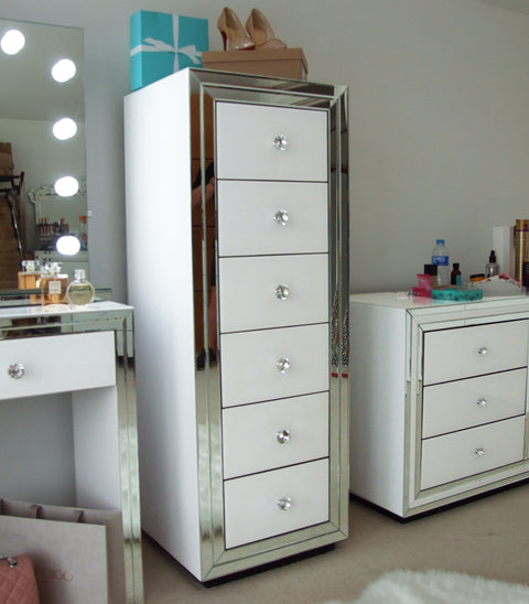 Premium White Mirror 6 Drawer Tallboy