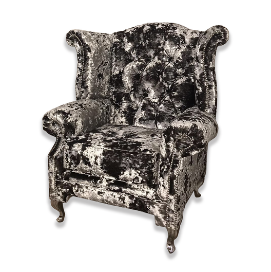 Crushed Velvet Queen Arm Chair | HOS Home | Mirrored furniture | Affordable Luxury