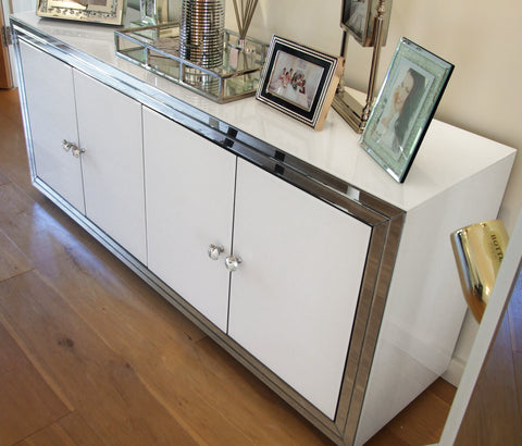 Premium White Mirror 4 Door Sideboard