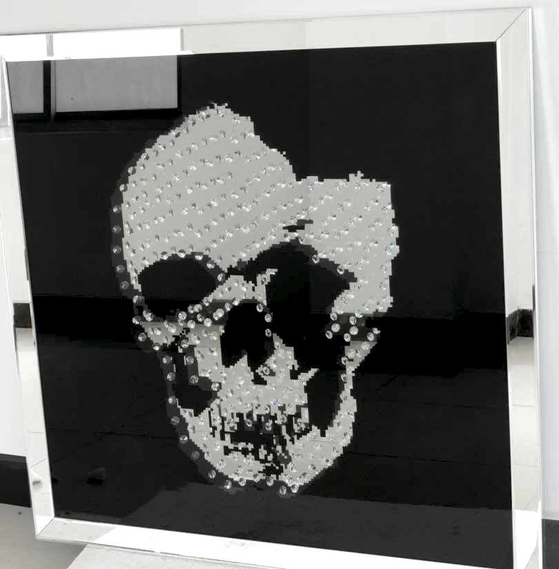 Floating Crystal Skull Mirrored Wall Art Large   Mirrored Furniture    Sparkle Diamond   House Of