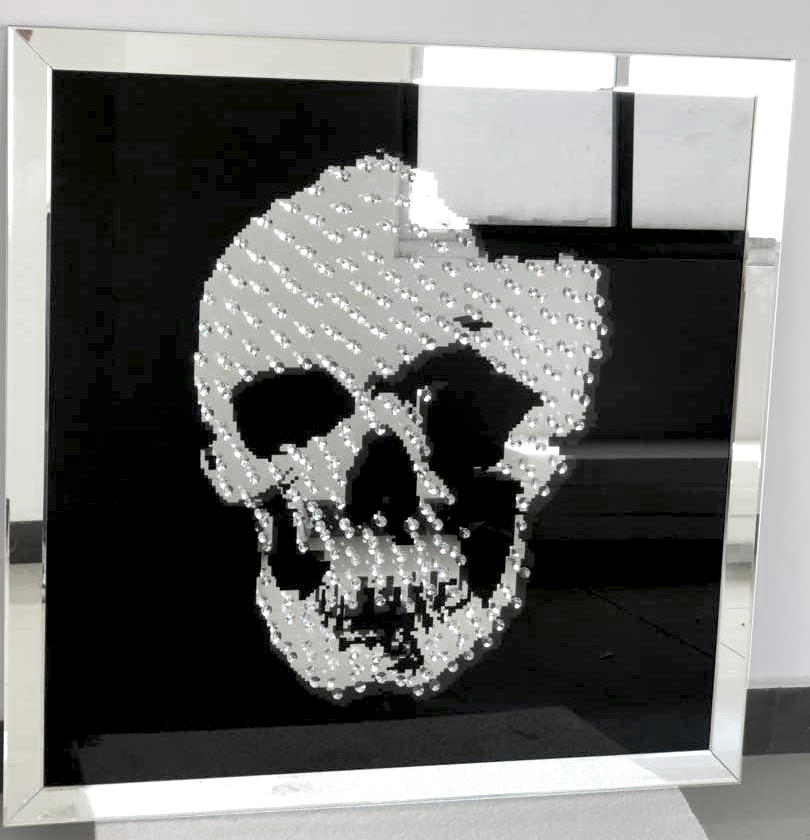 ... Floating Crystal Skull Mirrored Wall Art Large   Mirrored Furniture    Sparkle Diamond   House Of ...