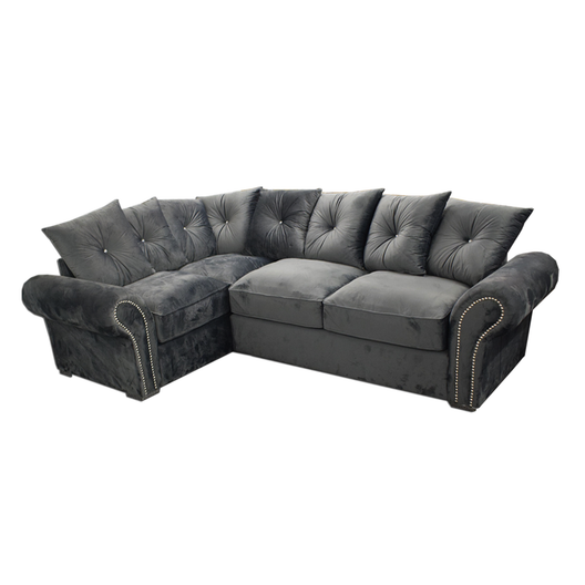 Amber Corner Sofa in Charcoal Grey | HOS Home | Mirrored furniture | Affordable Luxury