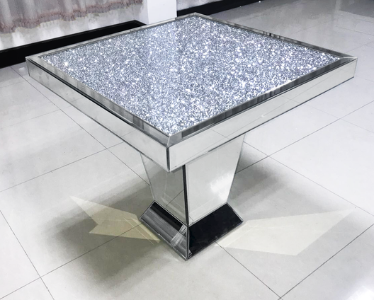 Diamond Crush Mirrored Dining Table | HOS Home | Mirrored furniture | Affordable Luxury