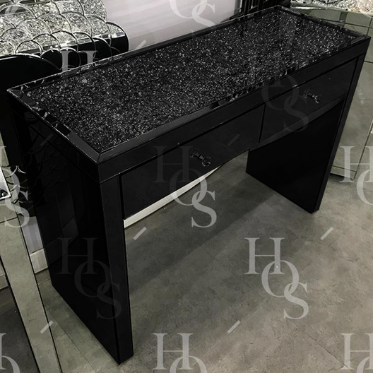 Black Mirror Crush 2 Drawer Mirrored Dressing Table | HOS Home | Mirrored furniture | Affordable Luxury