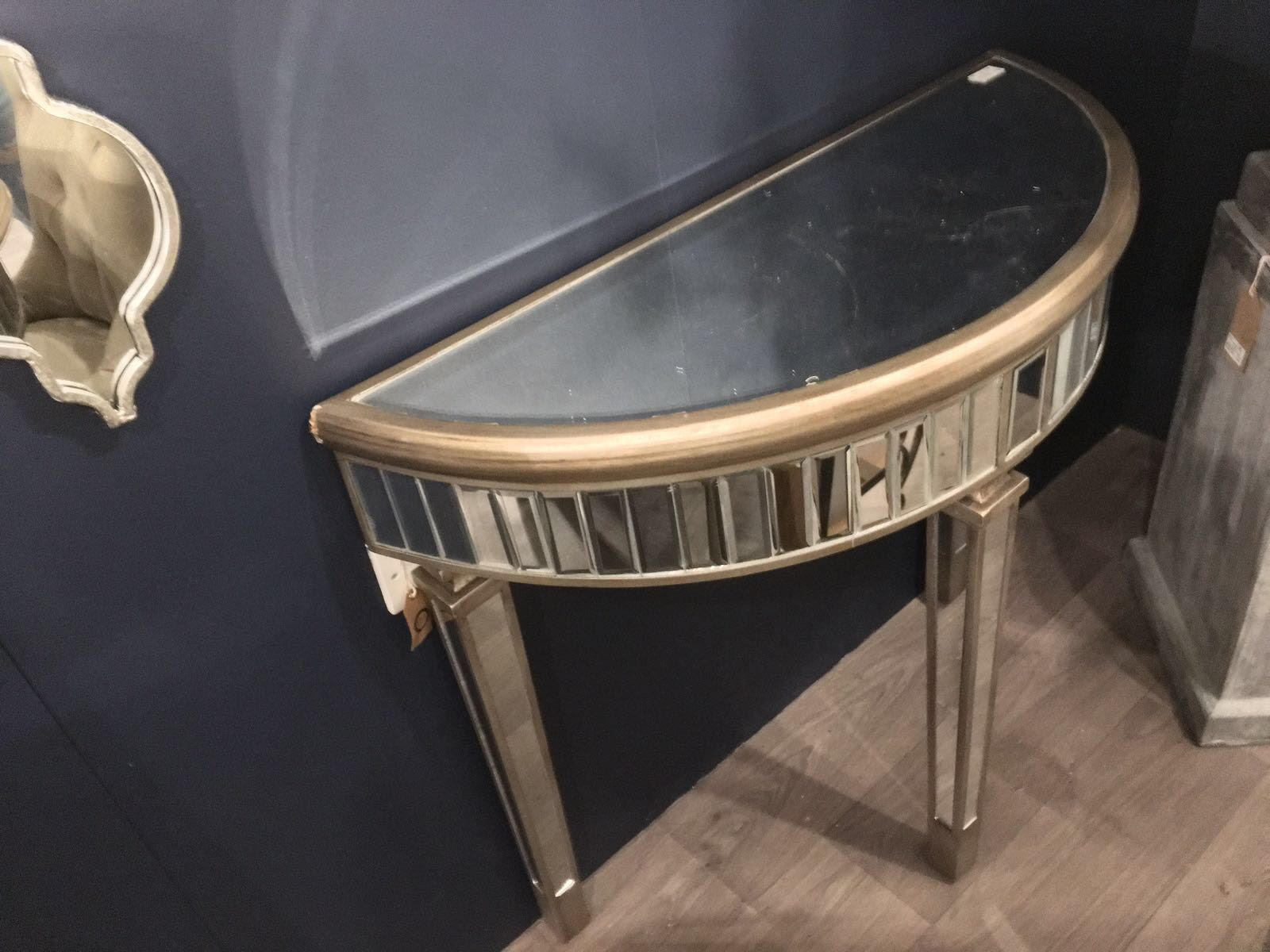The Belfont Collection Half Moon Mirrored Table