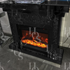 Black Mirror Crush Fireplace with Electric Fire - Mirrored furniture - Sparkle Diamond - House of Sparkles