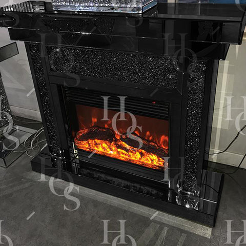Black Mirror Crush Fireplace with Electric Fire