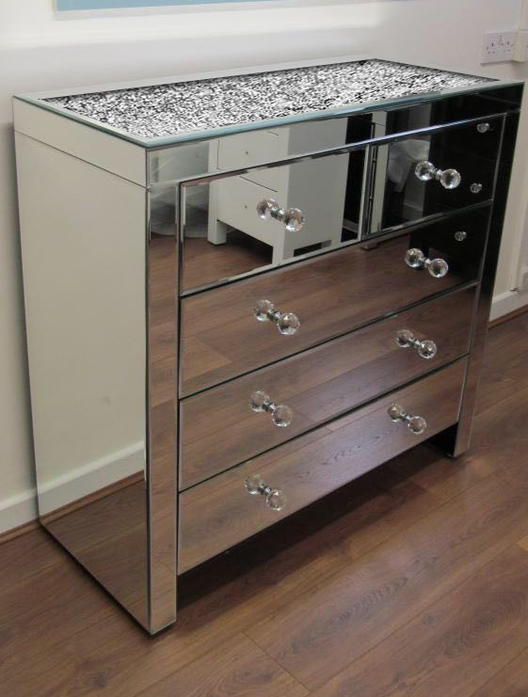 Diamond Crush on Top 5 Drawer Mirrored Chest of Drawers | HOS Home | Mirrored furniture | Affordable Luxury