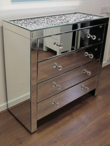 Image of Diamond Crush on Top 5 Drawer Chest of Drawers - Mirrored furniture - Sparkle Diamond - House of Sparkles