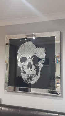 Floating Crystal Skull Mirrored Wall Art Large - PRE ORDER FOR JAN 2019