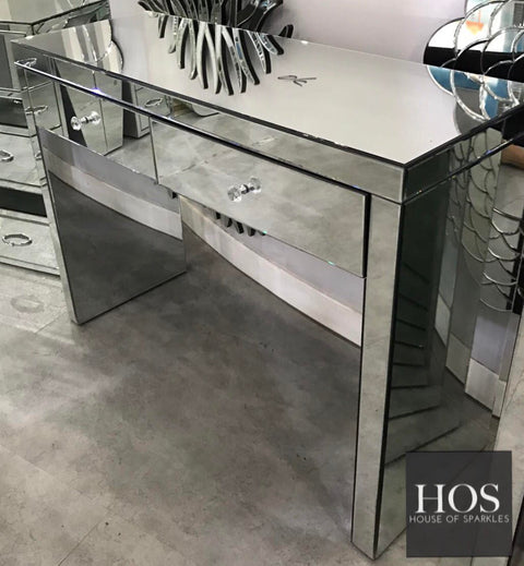2 Drawer Classic Mirrored Dressing Table   Mirrored Furniture   Sparkle  Diamond   House Of Sparkles