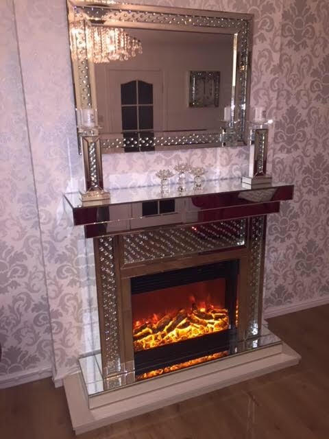 Floating Crystal Fire Place with Electric Fire - Mirrored furniture - Sparkle Diamond - House of Sparkles