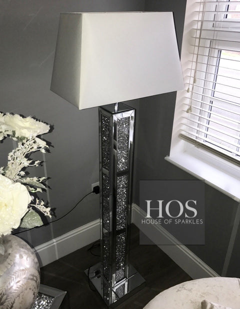 Brick Mirror Diamond Crush Floor Lamp - Mirrored furniture - Sparkle Diamond - House of Sparkles