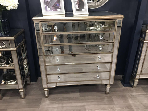 The Belfont Collection Six Drawer Mirrored Chest