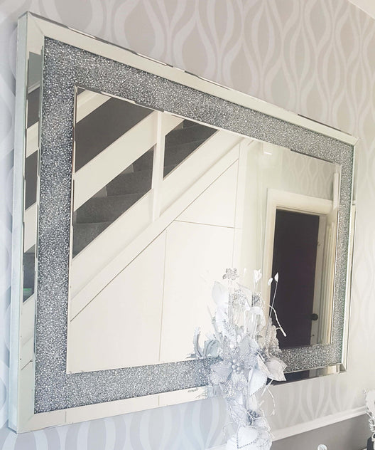 Diamond Crush Wall Mirror (90x60cm) | HOS Home | Mirrored furniture | Affordable Luxury