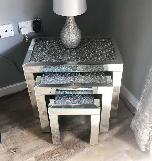 Diamond Crush Nest of 3 Mirrored Side Tables