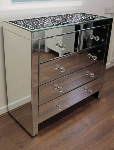 Floating Crystal on Top 5 Drawer Chest of Drawers - Mirrored furniture - Sparkle Diamond - House of Sparkles