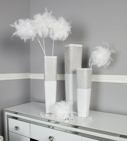 Diamond Glitz White Vases | HOS Home | Mirrored furniture | Affordable Luxury