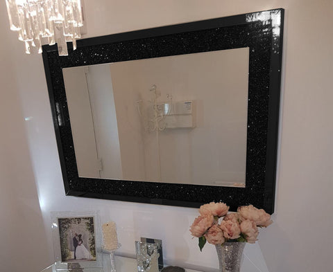 Black Mirror Crush Wall Mirror - Mirrored furniture - Sparkle Diamond - House of Sparkles