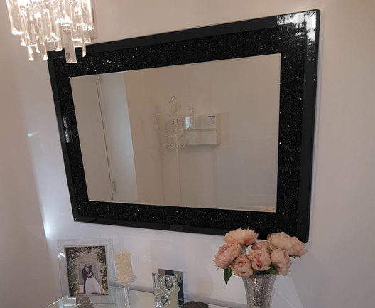 Black Mirror Crush Wall Mirror | HOS Home | Mirrored furniture | Affordable Luxury