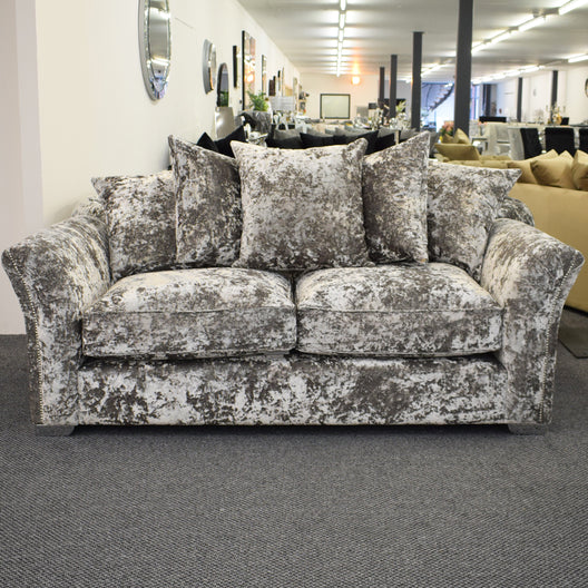 Brooklyn Three Seater Sofa in Grey Crush | HOS Home | Mirrored furniture | Affordable Luxury