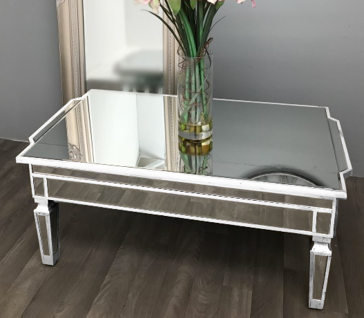 Antique Mirrored Square Coffee Table in White | HOS Home | Mirrored furniture | Affordable Luxury