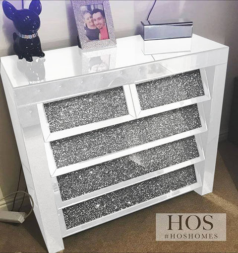 White Mirror Crush on Front 5 Drawer Chest