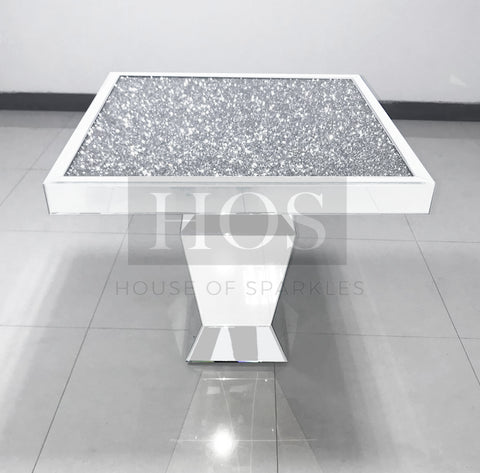 White Mirror Crush Dining Table