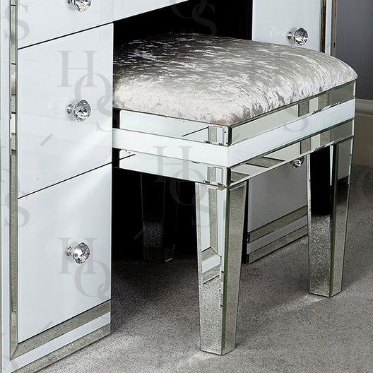 Premium White Mirror Dressing Table Stool