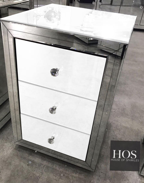Premium White Mirror 3 Drawer Bedside Table