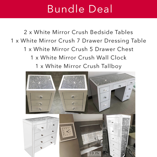 White Mirror Crush Bedroom Bundle