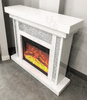 White Mirror Crush Fireplace with Electric Fireplace