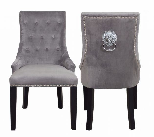 Lion Dining Chair Smooth Velvet Silver (Box of 2 chairs)